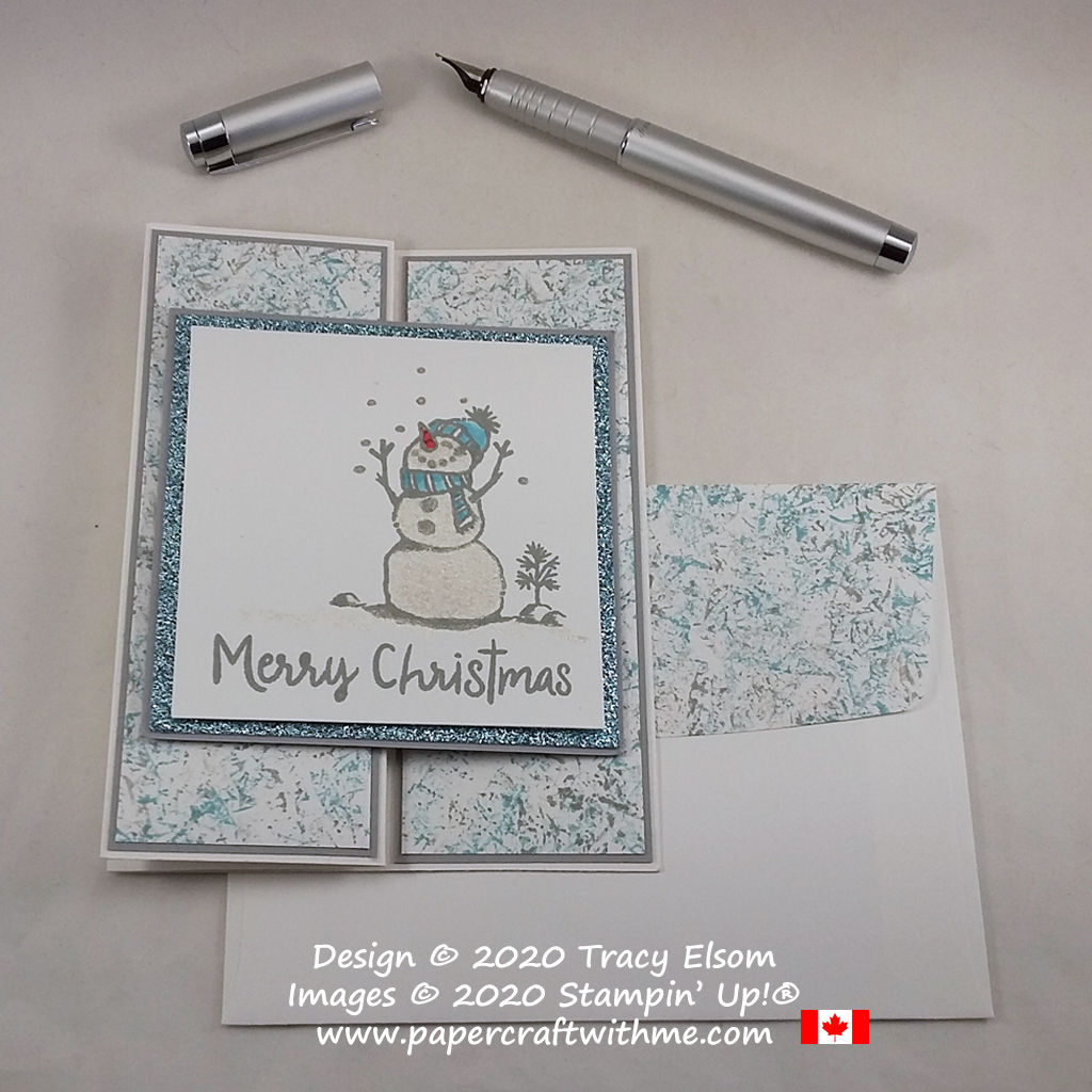 Z-fold Christmas card created using the Snowman Season Stamp Set and Clear Wink of Stella Glitter Brush from Stampin' Up! #papercraftwithme