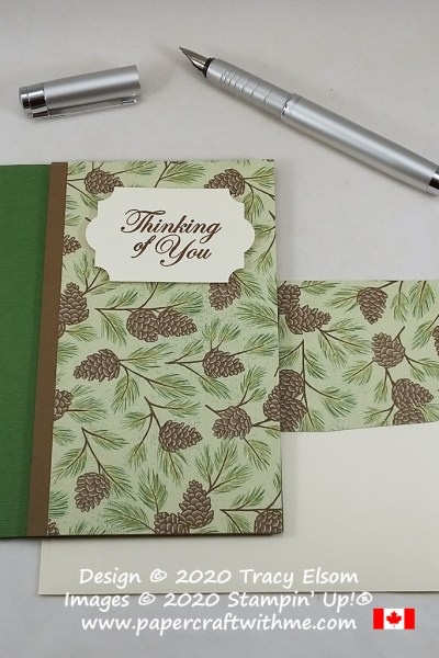 """Thinking of you"" card with pine cone background created using the Good Morning Magnolia Stamp Set and Poinsettia Place paper from Stampin' Up! #papercraftwithme"