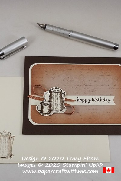 Masculine / gender neutral birthday card with coffee pot image from the Campology Stamp Set by Stampin' Up! #papercraftwithme