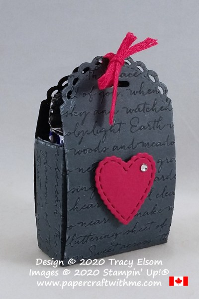 Valentine / wedding favor using the Scripty 3D Embossing Folder, Little Treat Box & Stitched Be Mine Dies from Stampin' Up! #papercraftwithme