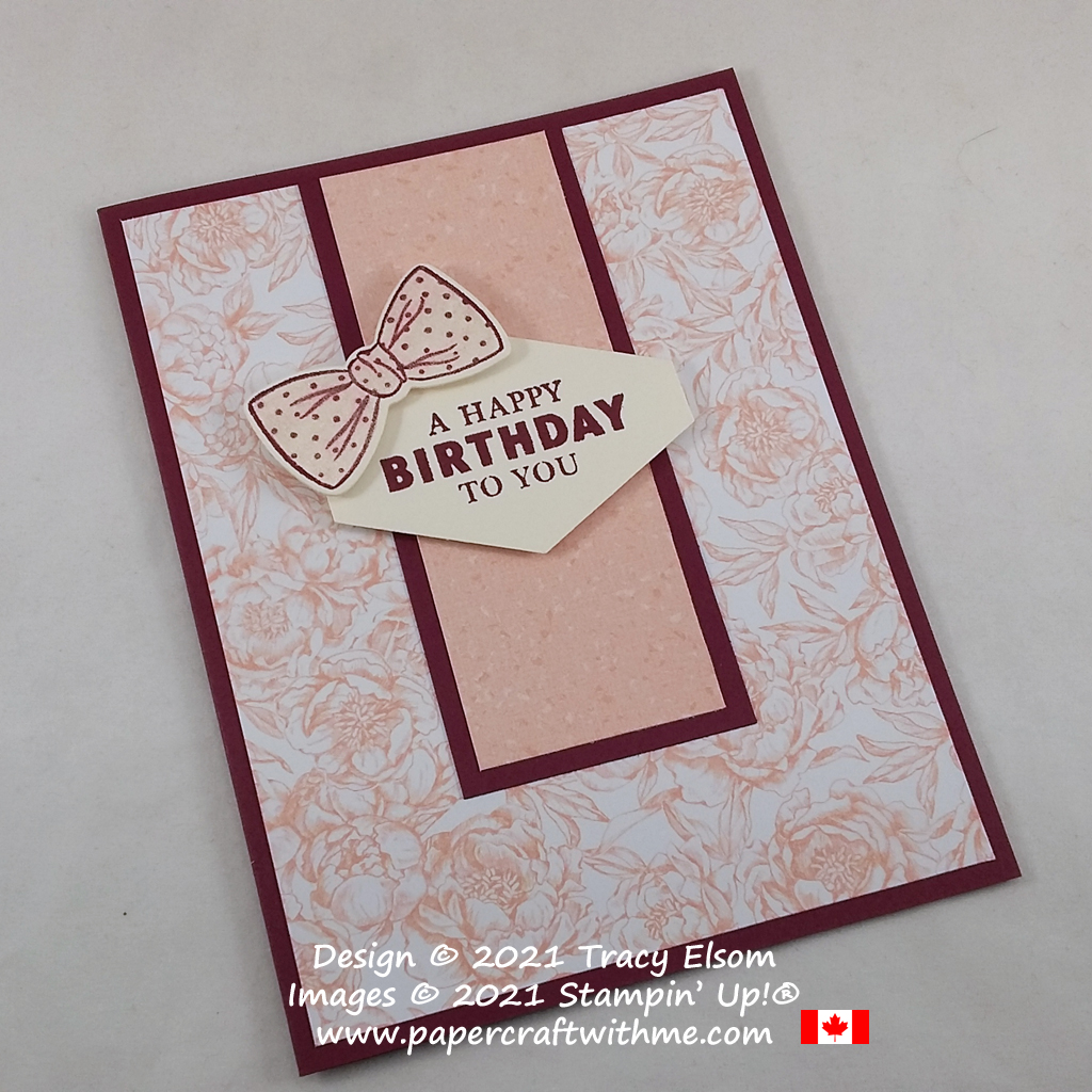 Feminine birthday card with a bow image created using the Handsomely Suited Stamp Set from Stampin' Up! #papercraftwithme