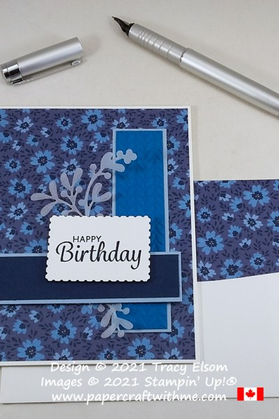 Blue floral birthday card created using the Here's A Card Stamp Set and Well Suited paper from Stampin' Up! #papercraftwithme