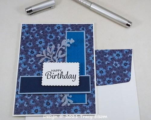 2152 Blue Floral Birthday Card