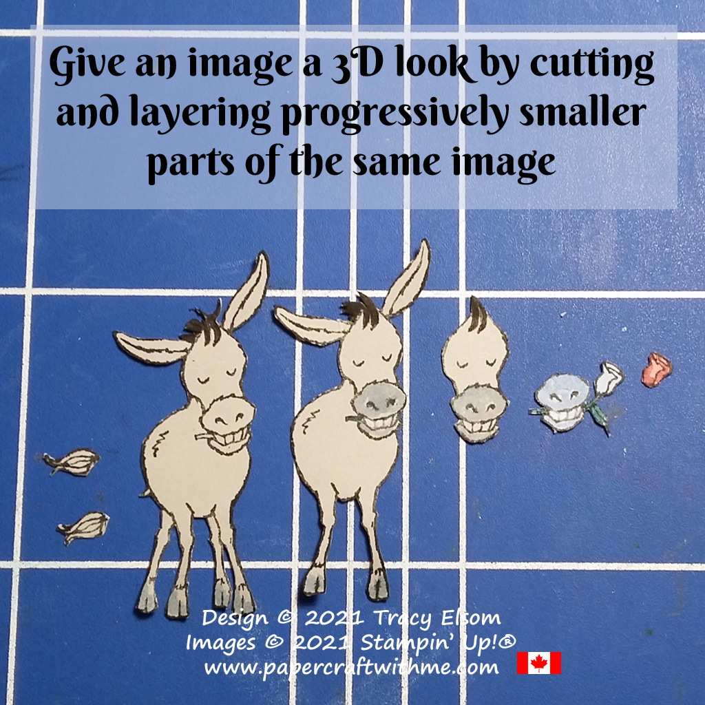 Give an image a 3D look by cutting and layering progressively smaller parts of the same image (Darling Donkeys). #papercraftwithme