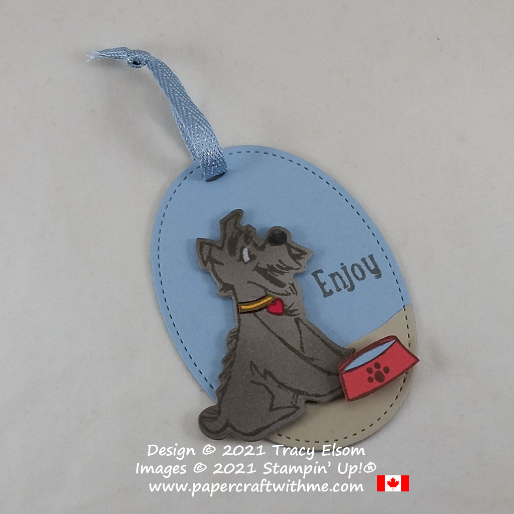 Enjoy this dog gift tag created using the Pampered Pets Stamp Set and coordinating Pets Dies with Seaside Spray Metallic Ribbon all from Stampin' Up! #papercraftwithme