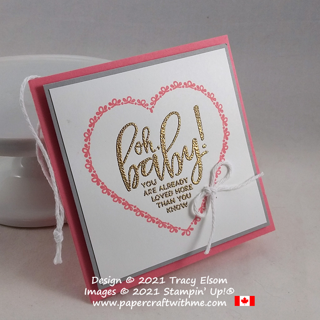 """""""Oh, baby!"""" gift tag created using the free Punch Party (Sale-A-Bration host) Stamp Set from Stampin' Up! #papercraftwithme"""