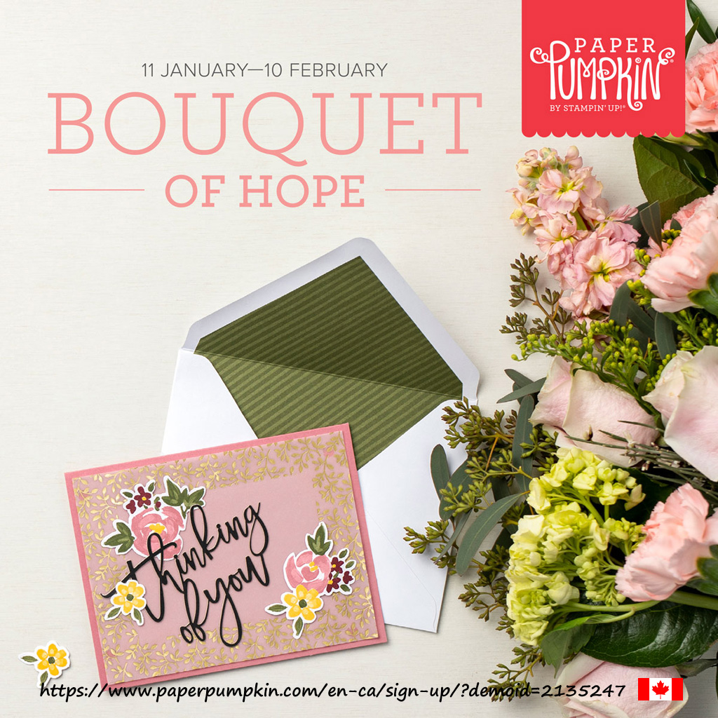 The February 2021 Paper Pumpkin kit 'Bouquet of Hope' will contain everything you need to make 9 cards with coordinating envelopes (3 each of 3 designs). Subscribe by February 10th 2021 (supplies may be limited towards the end of the subscription period)
