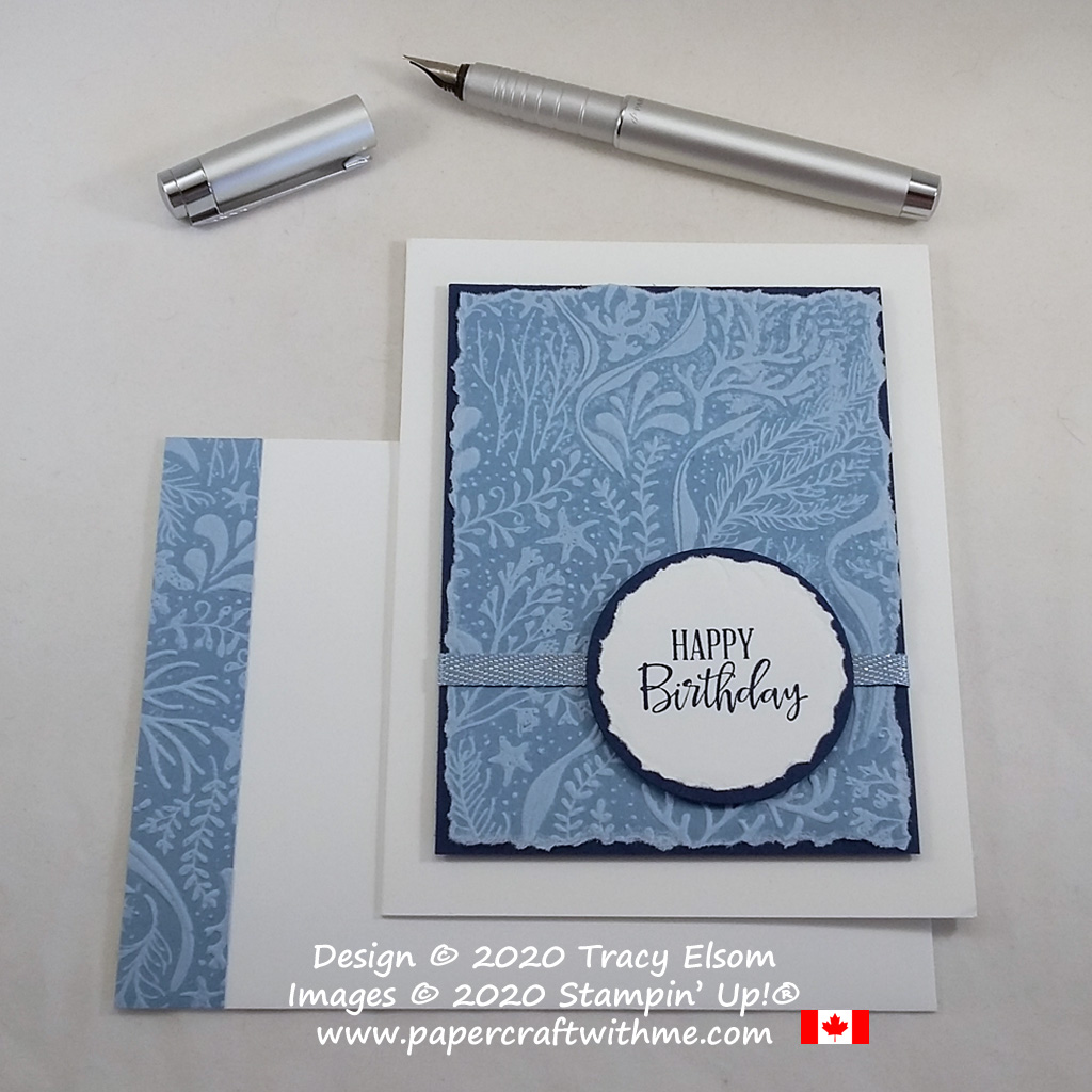 Masculine birthday card created using the inked embossing folder technique with the Seabed 3D Embossing Folder from Stampin' Up! #papercraftwithme