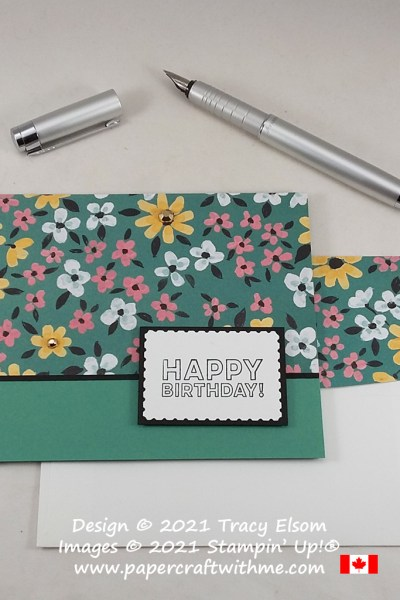 Simple birthday card created using the Many Mates Stamp Set and free Flower & Field paper from Stampin' Up! #papercraftwithme.com