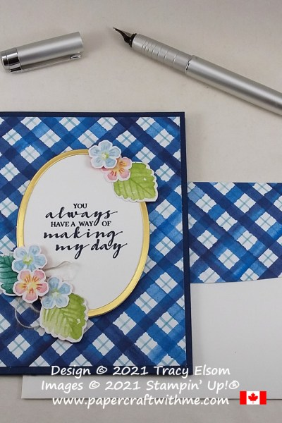 """You always have a way of making my day"" card created using the free Berry Blessings Stamp Set and Berry Delightful paper from Stampin' Up! #papercraftwithme"