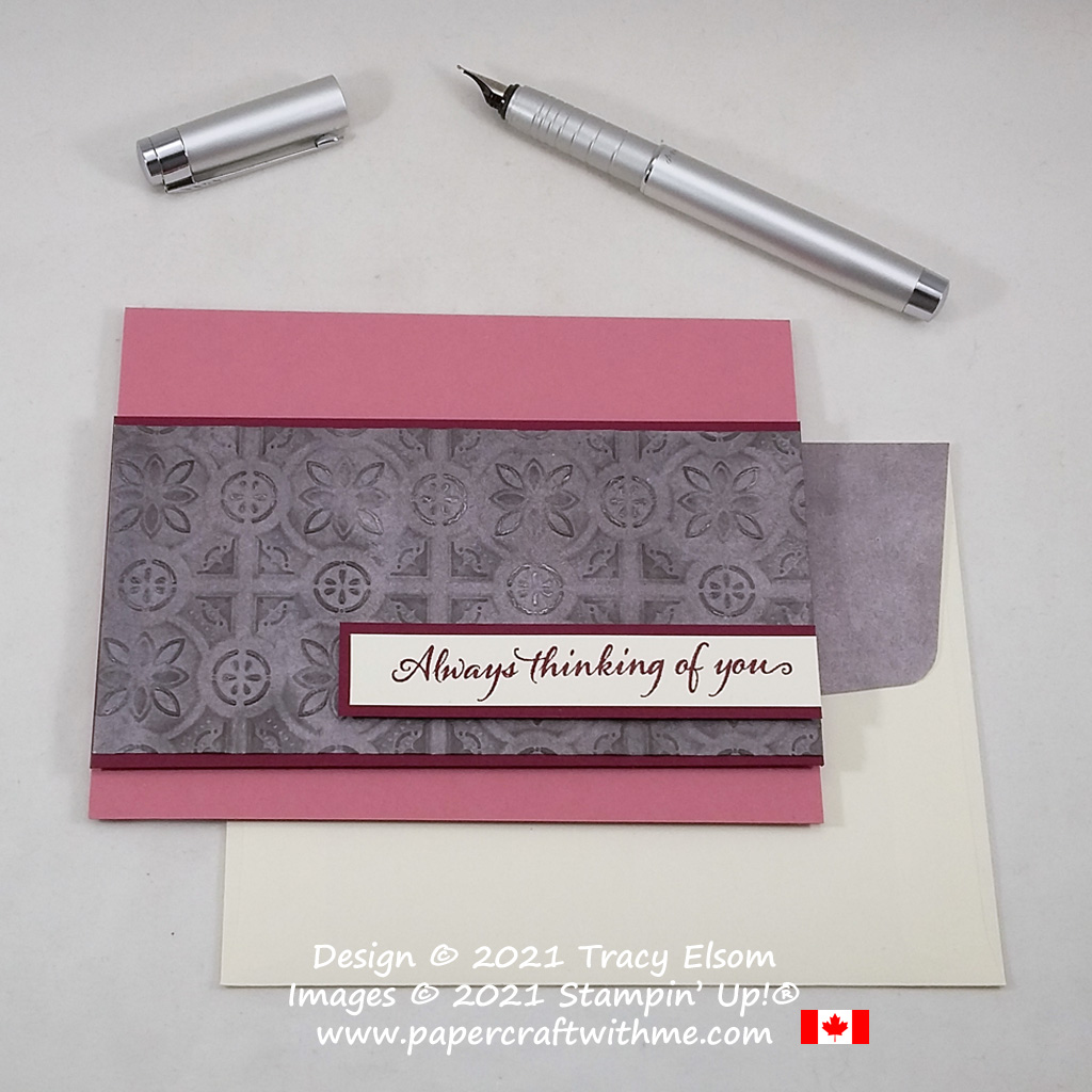 """""""Always thinking of you"""" card created using the Very Versailles Stamp Set and Tin Tile 3D Embossing Folder from Stampin' Up! #papercraftwithme"""