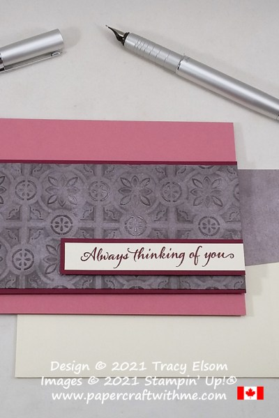 """Always thinking of you"" card created using the Very Versailles Stamp Set and Tin Tile 3D Embossing Folder from Stampin' Up! #papercraftwithme"