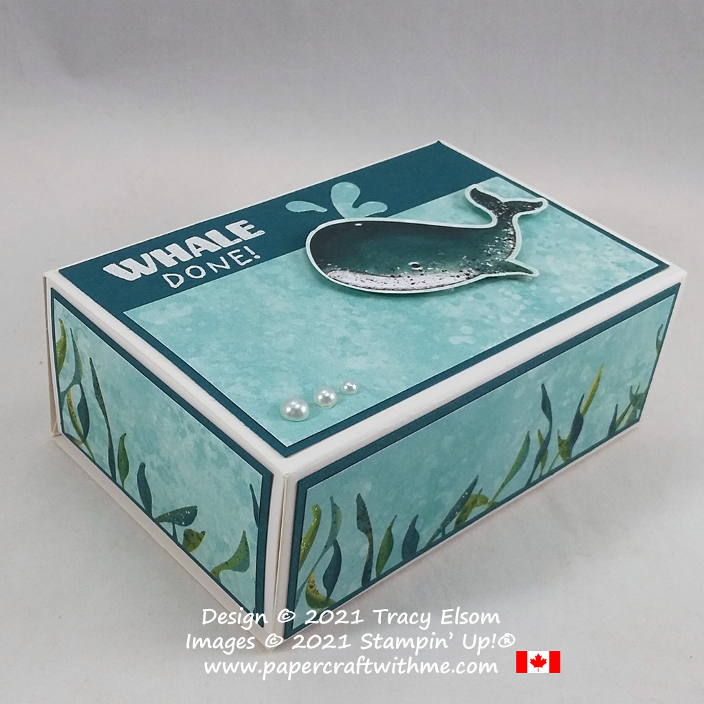 """Whale done!"" drawer-style box created using the Love You Always Treat Box, Whale Done Stamp Set and coordinating Whale Punch from Stampin' Up! #papercraftwithme"