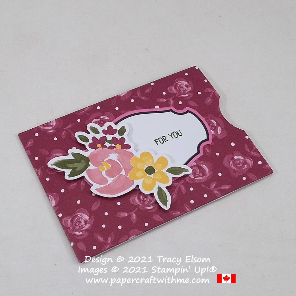 """For you"" alternate gift card holder design using the February 2021 Paper Pumpkin kit ""Bouquet of Hope"".#papercraftwithme"