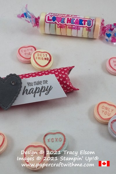 Quick Valentine's treats for Love Hearts candies created using the Meant to Be Stamp Set and Stitched Be Mine Dies from Stampin' Up! #papercraftwithme
