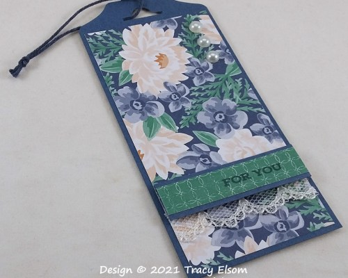 """Vanilla & Blue Floral """"For You"""" Gift Tag"""