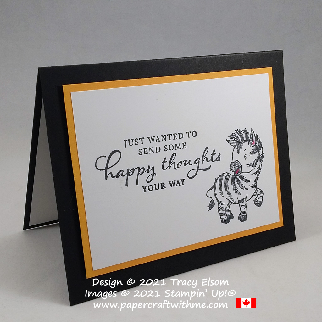 Fun card with cute zebra image created using the Happy Thoughts and Zany Zebras Stamp Sets from Stampin' Up! #simplestamping #papercraftwithme