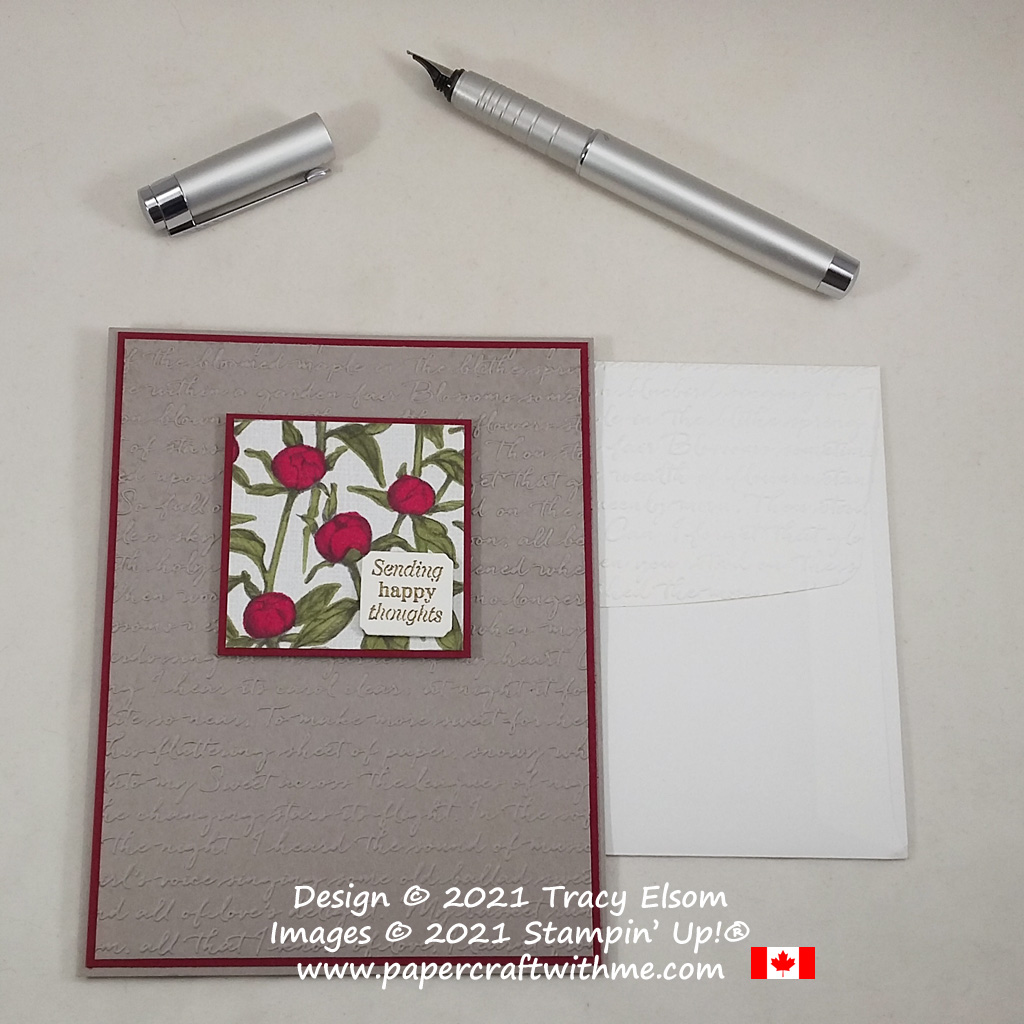 """""""Sending happy thoughts"""" with this card created using the Many Messages Stamp Set, with the retiring Peony Garden paper and Scripty 3D Embossing Folder, all from Stampin' Up! #papercraftwithme"""