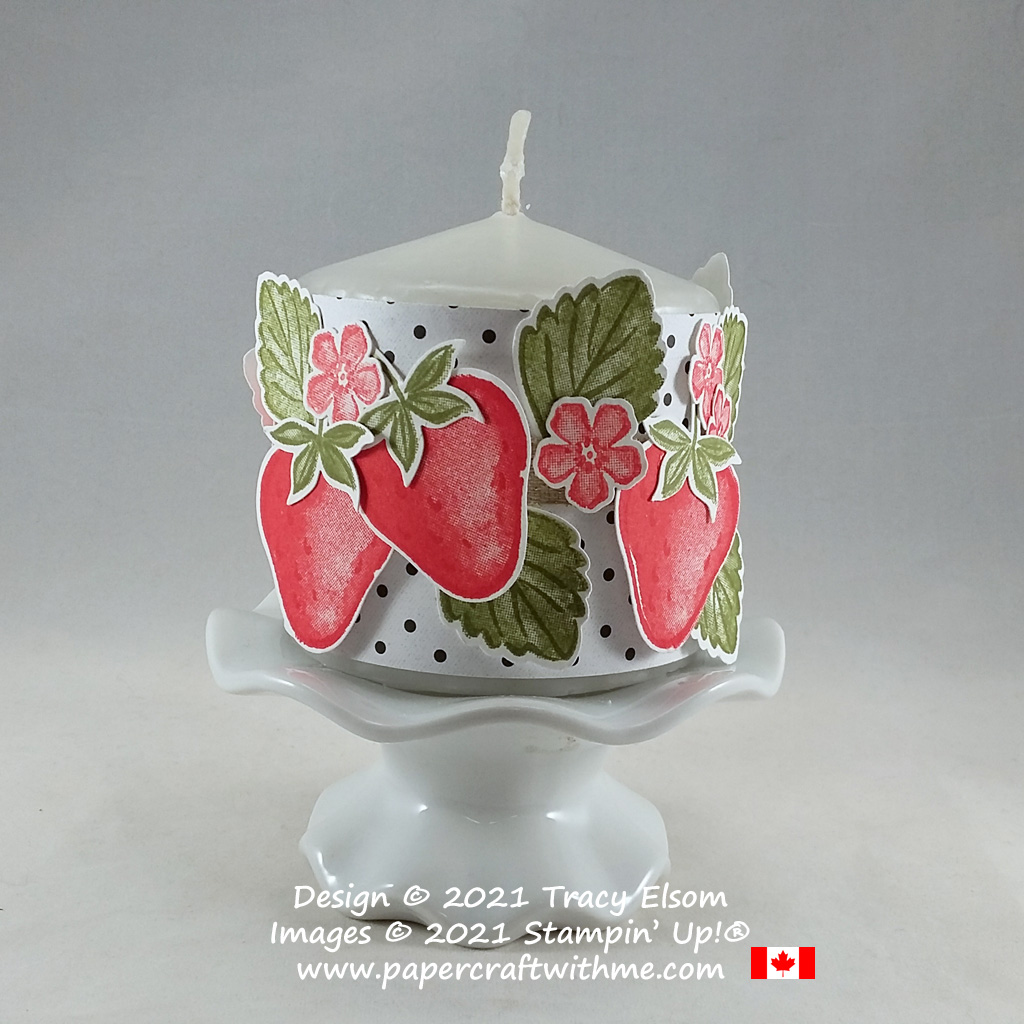 Spring candle wrap decorated using the Sweet Strawberry Stamp Set and coordinating Strawberry Builder Punch from Stampin' Up! #papercraftwithme