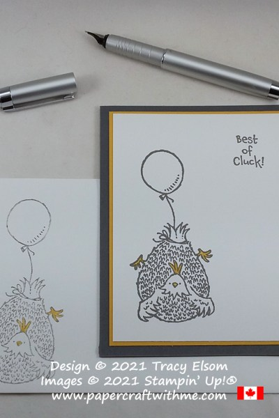 "Good luck card with ""Best of cluck"" sentiment created using the Hey Birthday Chick Stamp Set from Stampin' Up! #simplestamping #papercraftwithme"
