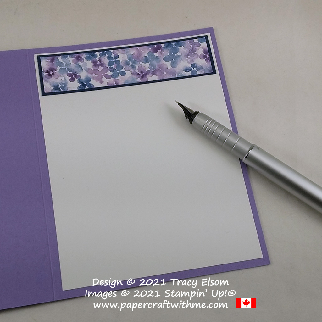 Add a matching strip of patterned paper to the inside of a card for extra interest. #papercraftwithme