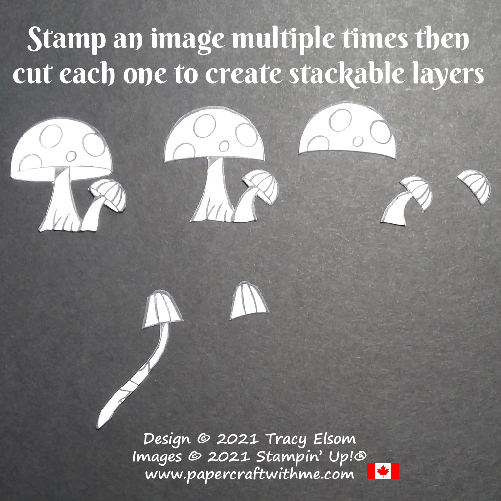 Stamp the toadstool image multiple times using the Snailed It Stamp Set from Stampin' Up! Then cut each one to create stackable layers. #papercraftwithme