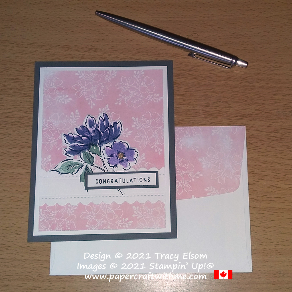 """""""Congratulations"""" card created using the Hand-Penned Petals Stamp Set and coordinating Penned Flowers Dies from Stampin' Up! #papercraftwithme"""