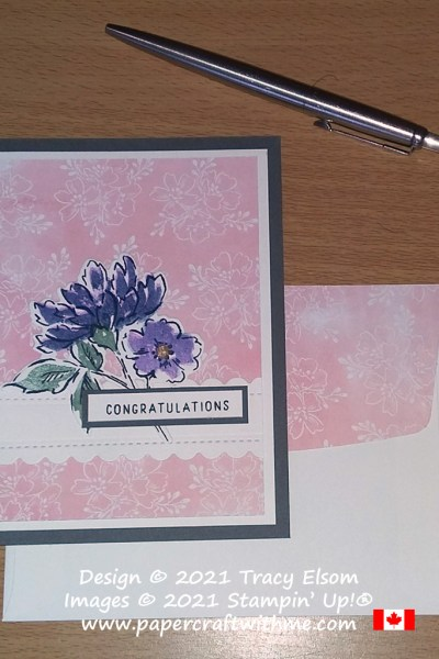 """Congratulations"" card created using the Hand-Penned Petals Stamp Set and coordinating Penned Flowers Dies from Stampin' Up! #papercraftwithme"
