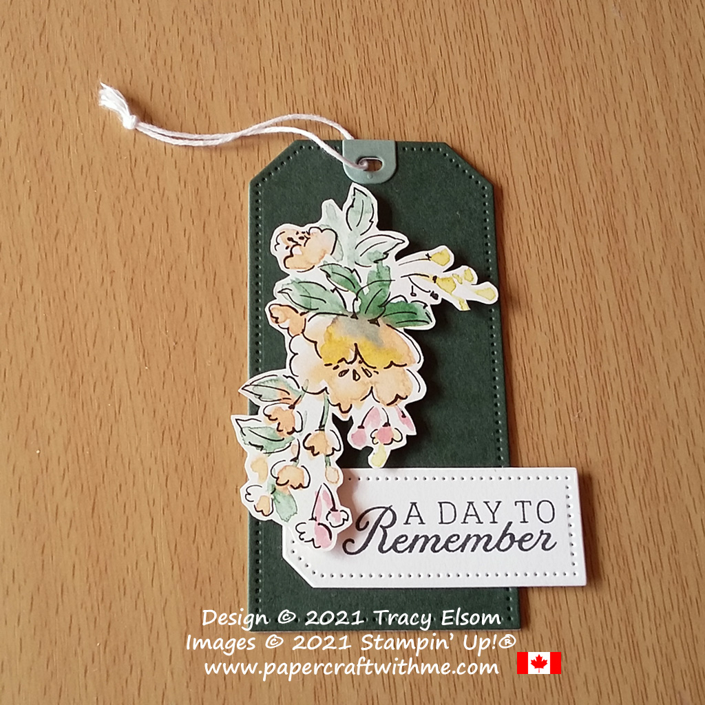 """A day to remember"" gift tag created using the Days To Remember Stamp Set, Tailor Made Tags Dies and Hand-Penned DSP paper from Stampin' Up! #papercraftwithme"