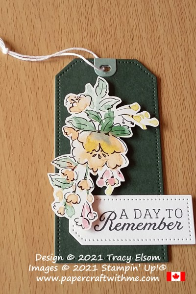 """""""A day to remember"""" gift tag created using the Days To Remember Stamp Set, Tailor Made Tags Dies and Hand-Penned DSP paper from Stampin' Up! #papercraftwithme"""