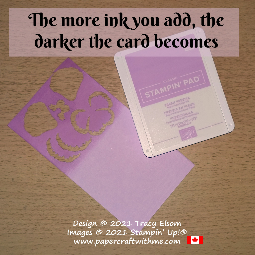 Create darker shades of card by adding ink from the matching coordinating ink pad. #papercraftwithme