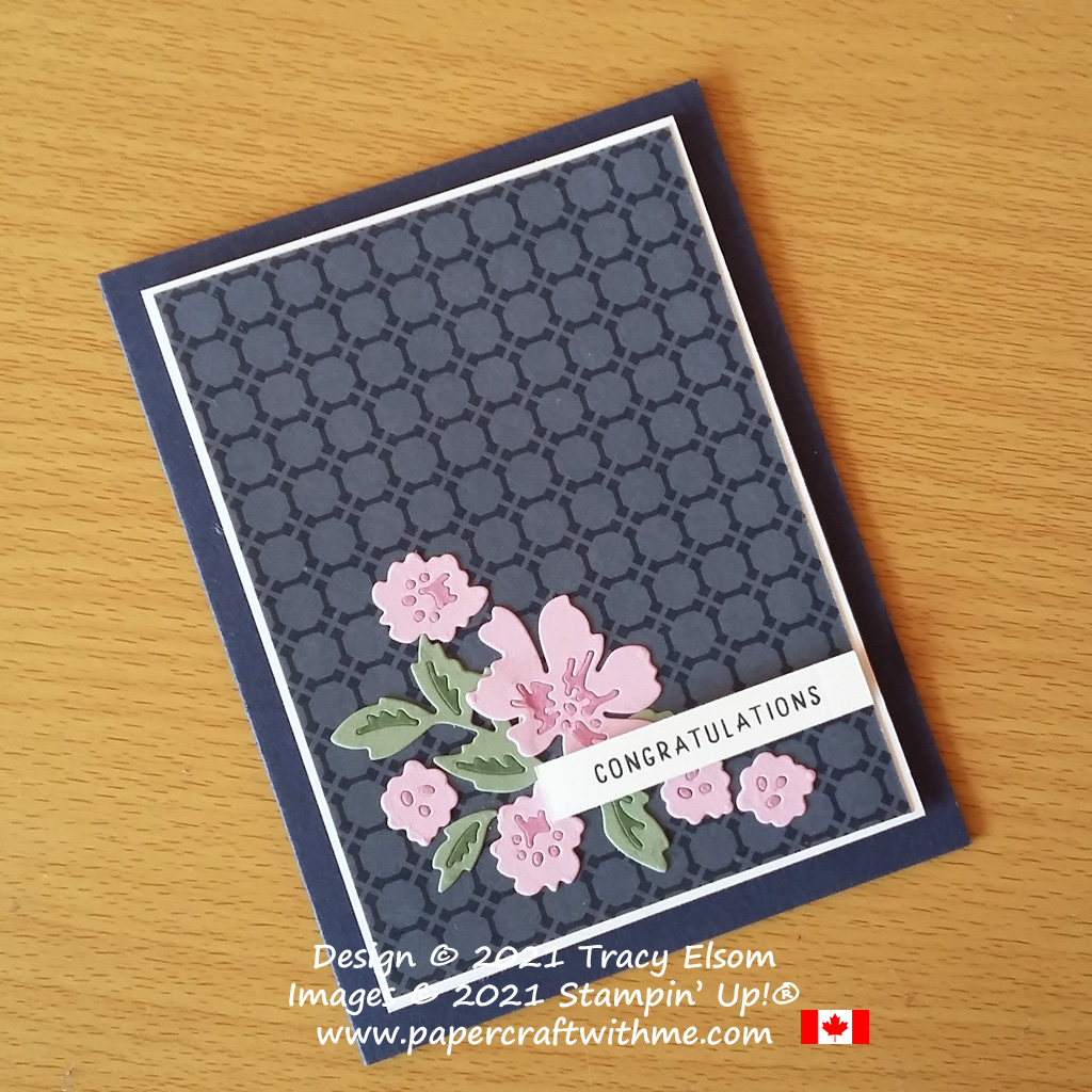 Congratulations card with paper-pieced flowers created using the Penned Flowers Dies from Stampin' Up! #papercraftwithme