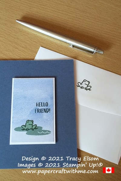 """Simple """"Hello friend"""" card with little frog image created using the Oh Snap Stamp Set from Stampin' Up! #papercraftwithme #simplestamping"""