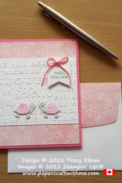 """""""Hello little one"""" baby card created using the Turtle Friends Stamp Set and Hello Embossing Folder from Stampin' Up! #papercraftwithme"""