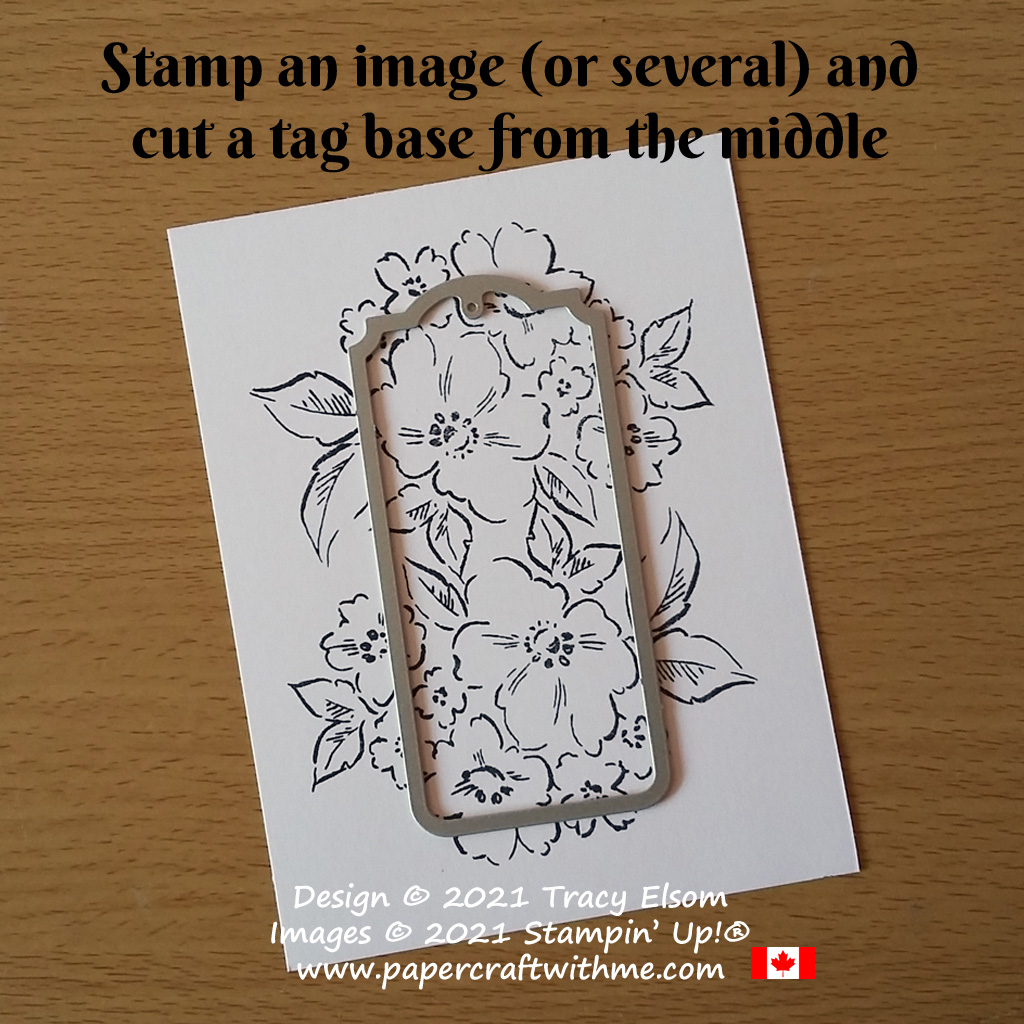 Stamp an image (or several) and cut a tag base from the middle. #papercraftwithme