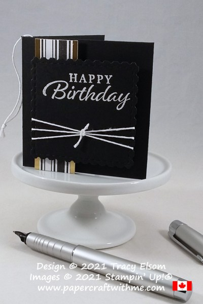 Masculine / gender neutral birthday gift tag in black, white and gold created using the Happy Thoughts Stamp Set and Snail Dies from Stampin' Up! #papercraftwithme