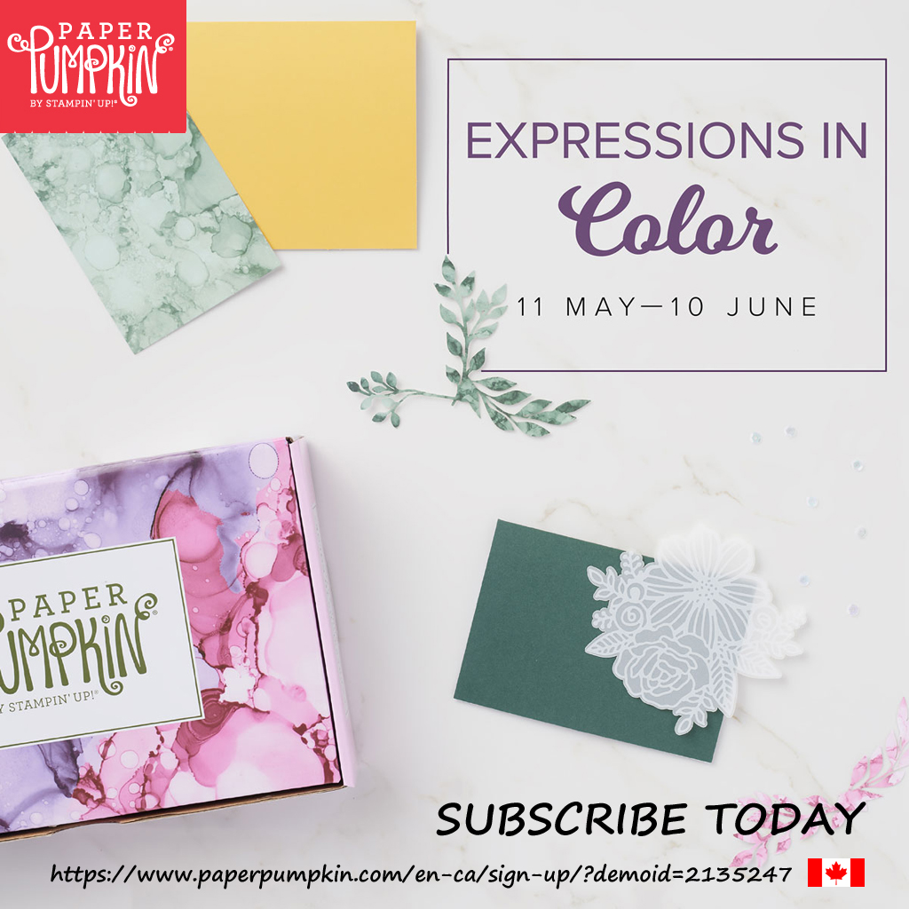 The June 2021 Paper Pumpkin kit is called Expressions In Color and contains everything you need to create 9 full-size cards (3 each of 3 designs). Subscribe by June 10th (supplies may be limited towards the end of the subscription period).