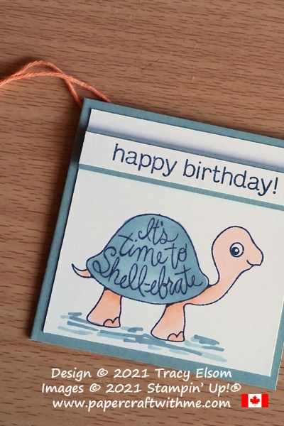 It's time to Shell-ebrate with this cute birthday gift tag created using the Turtle Friends Stamp Set from Stampin' Up! #papercraftwithme