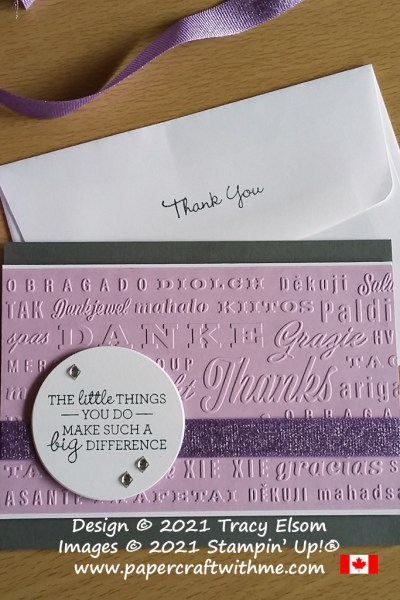 Thank you card created using the Pansy Patch Stamp Set and Thanks & Hello Embossing Folders from Stampin' Up! #papercraftwithme