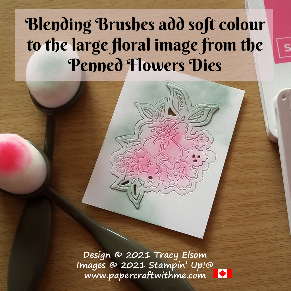 Blending Brushes add soft colour to the large floral image from the Penned Flowers Dies from Stampin' Up! #papercraftwithme