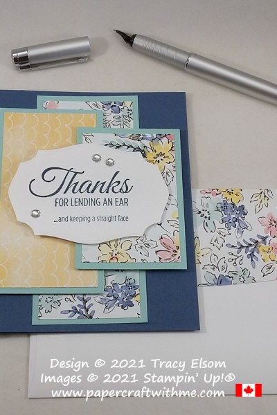 """""""Thanks for lending an ear ...and keeping a straight face"""" - card created using the Lighthearted Lines Stamp Set from Stampin' Up! #papercraftwithme"""
