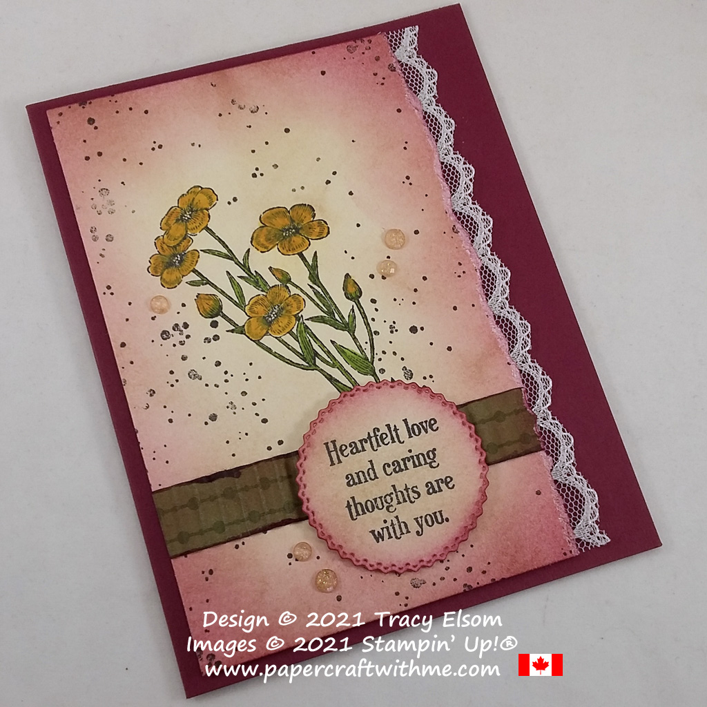 Vintage style love and thoughts card decorated using the Quiet Meadow Stamp Set from Stampin' Up! #papercraftwithme