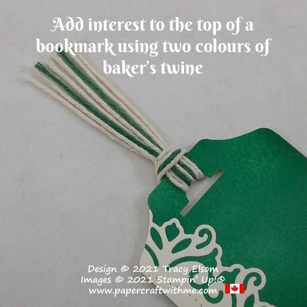 Add interest to the top of a bookmark using two colours of baker's twine. #papercraftwithme
