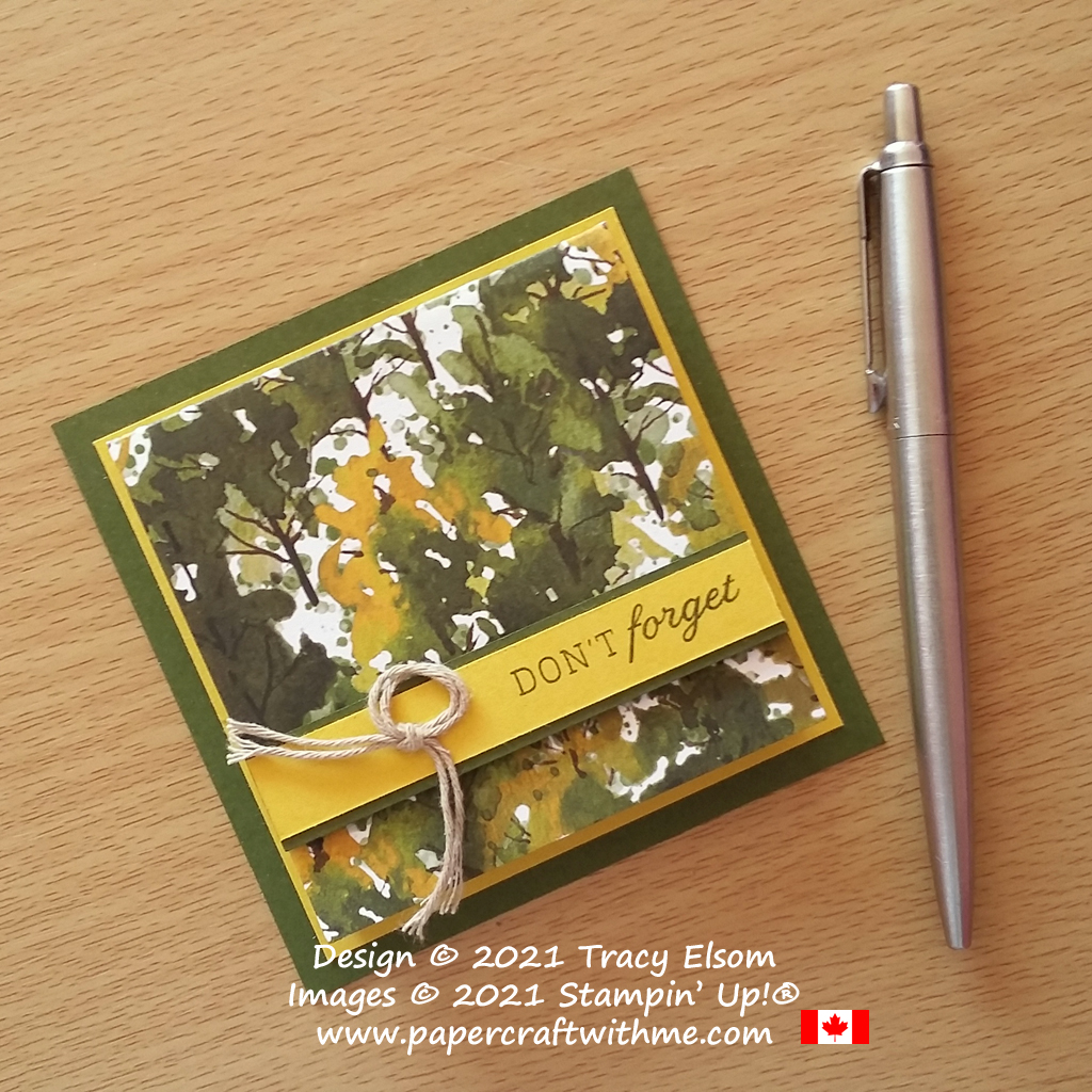 """""""Don't Forget"""" masculine Post-It® Note Pad decorated using the Days To Remember Stamp Set and Beauty Of The Earth Paper from Stampin' Up!"""