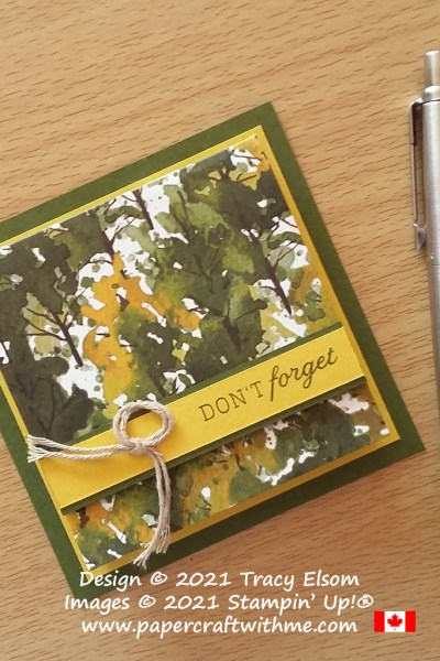 """""""Don't Forget"""" masculine Post-It® Note Pad decorated using the Days To Remember Stamp Set and Beauty Of The Earth Paper from Stampin' Up! #papercraftwithme"""