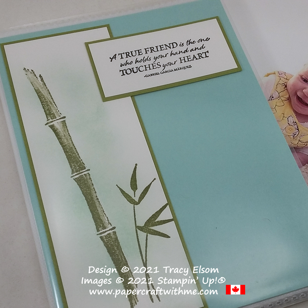 """4"""" x 6"""" pocket photo album created using the Bamboo Beauty Stamp Set from Stampin' Up! #papercraftwithme #simplestamping"""