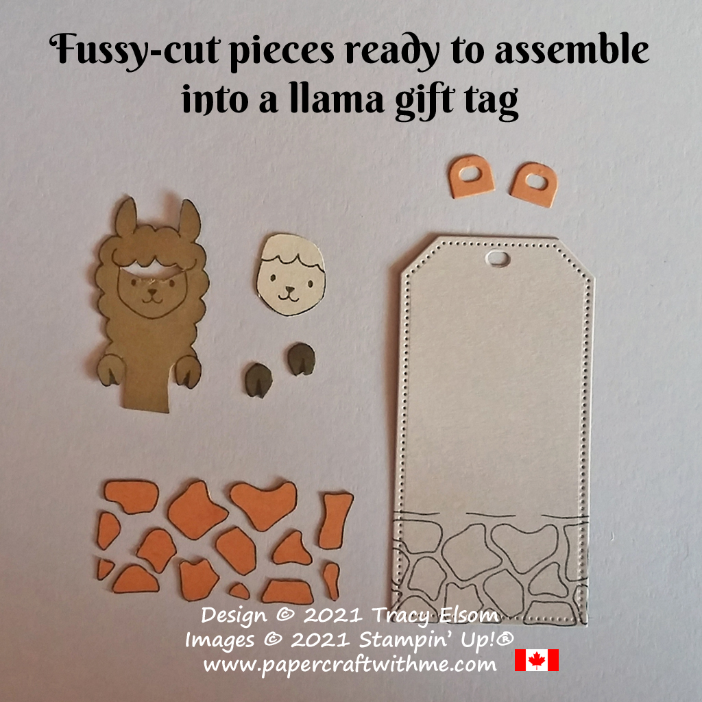 Preparing the paper-pieced llama gift tag created using the Peekaboo Farm Stamp Set and Tailor Made Tags Dies from Stampin' Up! #papercraftwithme