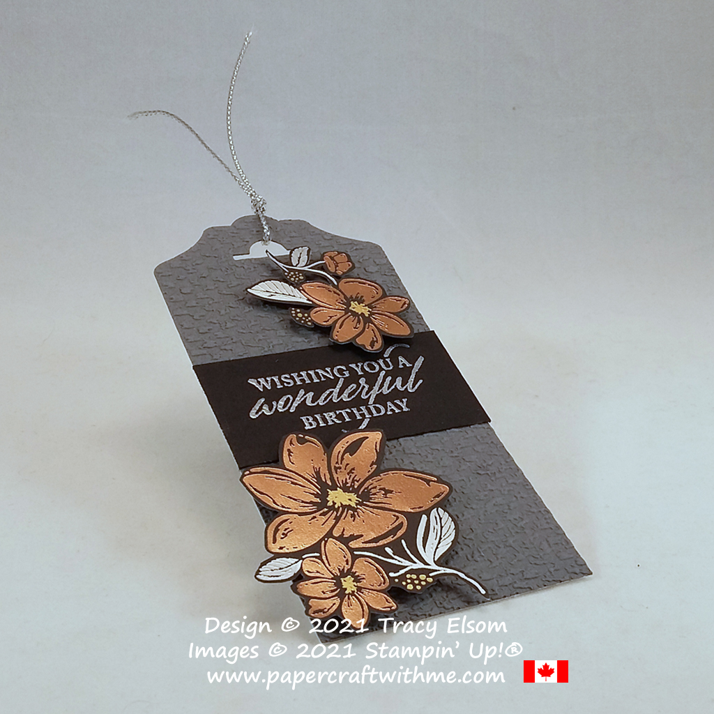 """""""Wishing you a wonderful birthday"""" with this tag created using the Elegantly Said Stamp Set and Simply Elegant paper from Stampin' Up! #papercraftwithme"""