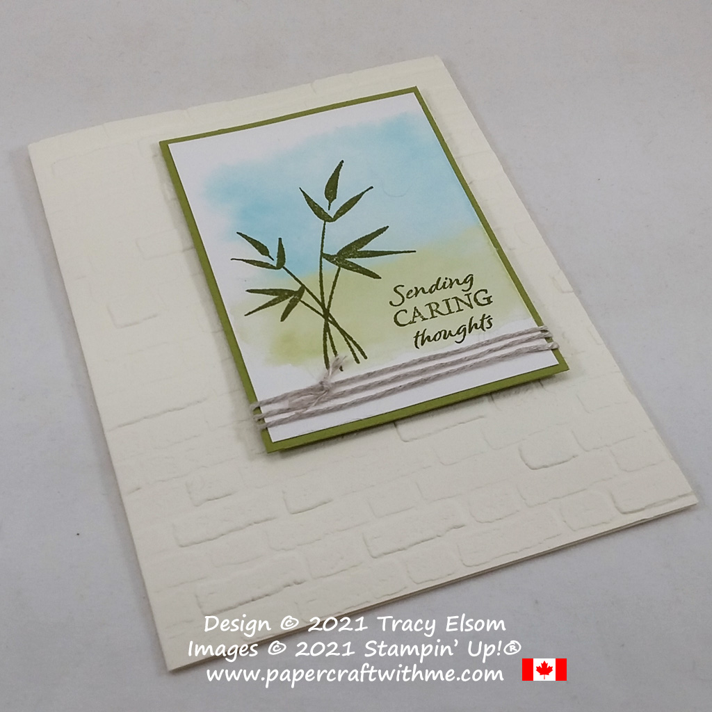 """""""Sending caring thoughts"""" with this card created using the Bamboo Beauty Stamp Set and Brick & Mortar 3D Embossing Folder from Stampin' Up! #papercraftwithme"""