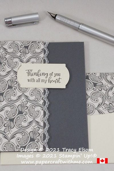 """""""Thinking of you"""" card created using the Peaceful Moments Stamp Set with Simply Elegant paper from Stampin' Up! #papercraftwithme"""